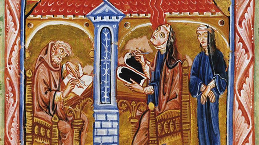 """Diese Miniatur aus dem Lucca-Codex des """"Liber divinorum operum"""" zeigt Hildegard von Bingen. Um 1220/123, Biblioteca Statale in Lucca"""