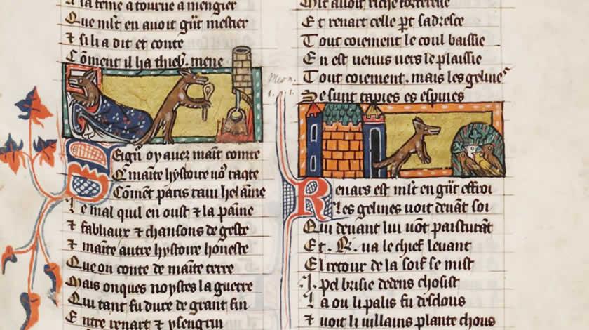 Buchmalerie aus dem Roman de Renart.
