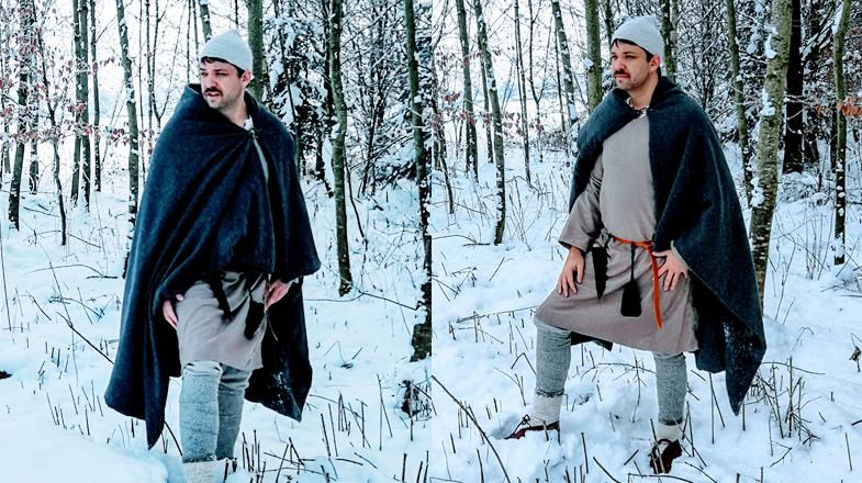 Florian in slawischer Ausstattung bei Schnee und Frost