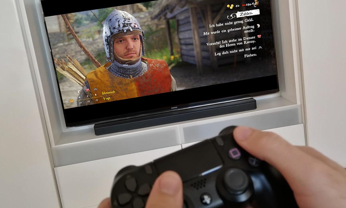 Florian spielt Kingdom Come auf der Playstation