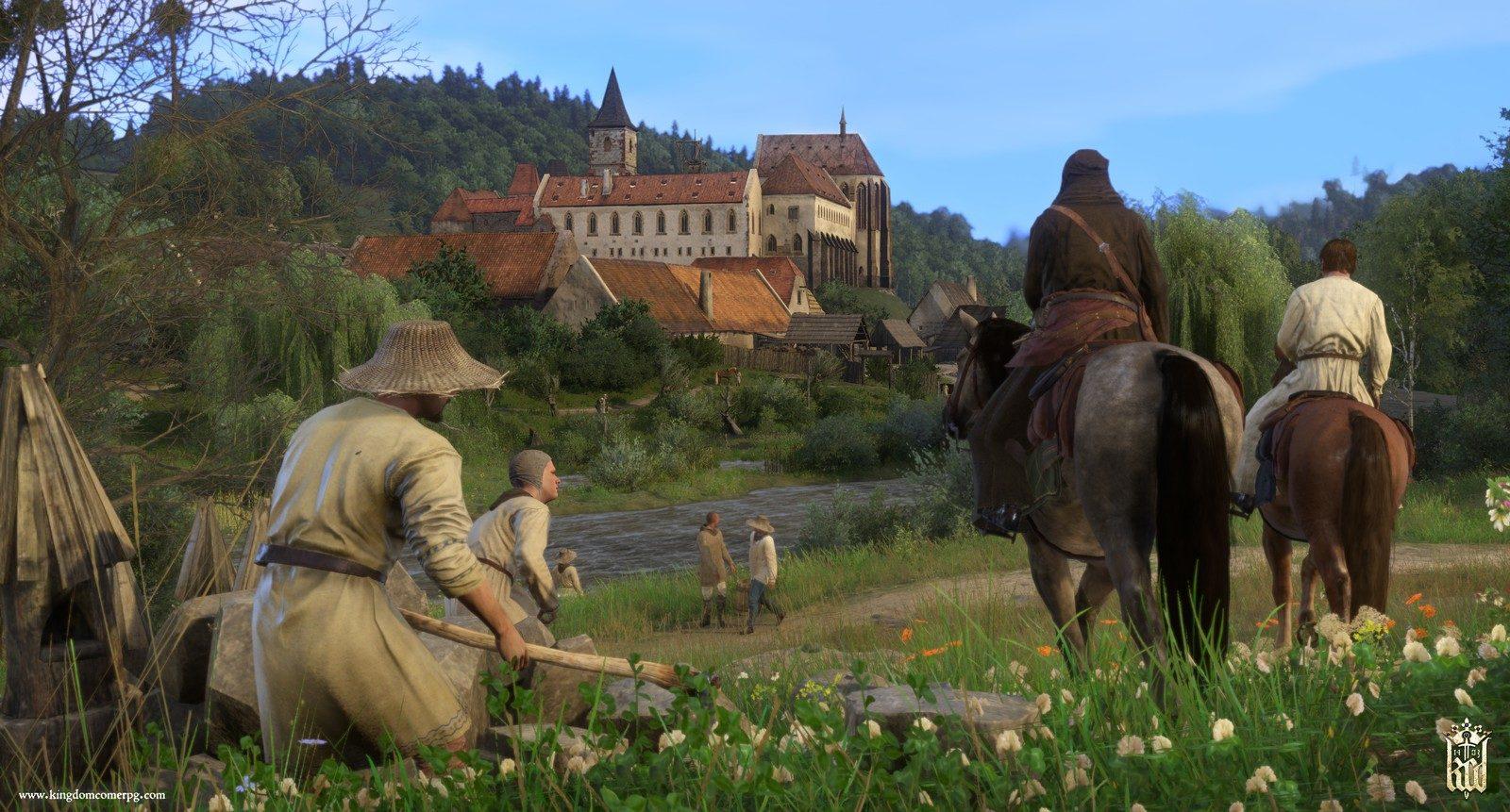 Bauern und Reiter vor dem Kloster Sassau